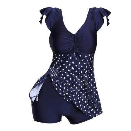 Polka Dot Print Ruched One Piece Sw..