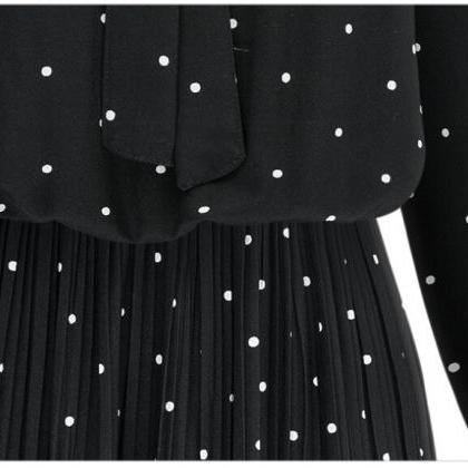 Black Self-Tie Ribbon Polka Dot Ple..