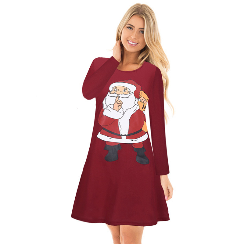 Red Santa Claus Christmas Dress - Father Christmas Long Sleeves Dress