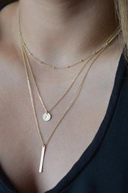 Free Shipping Woman Triple Chain Metal Strip Necklace - Golden