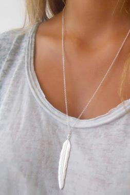 Free Shipping Silver Metal Feather Decorated Chain Necklace