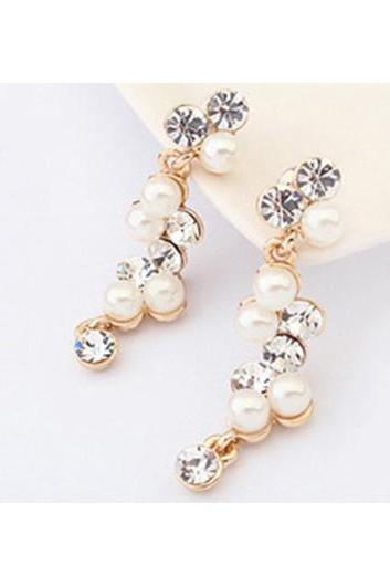 Free Shipping Fashion Rhinestone Decorated Gold Metal Earrings for Woman