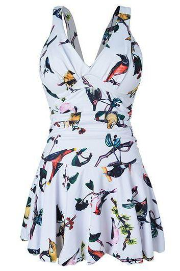 Birds Print White Plunge V Shoulder Straps Swim Dress Featuring Criss-Cross Open Back