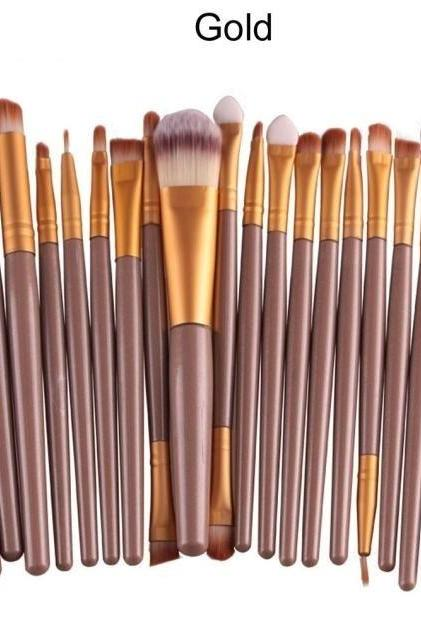 Free Shipping High Quality 20pcs/set Makeup Brush Set Tools Wool Brushes Kits - Gold