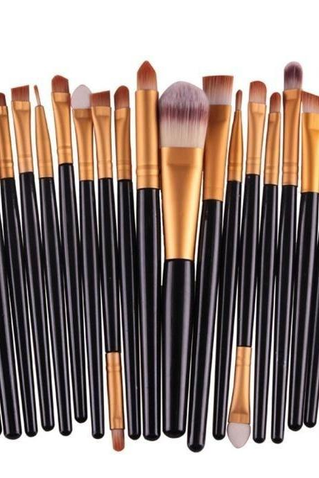 Free Shipping High Quality 20pcs/set Makeup Brush Set Tools Wool Brushes Kits - Black&Gold