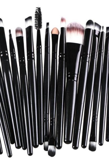 Free Shipping High Quality 20pcs/set Makeup Brush Set Tools Wool Brushes Kits - All Black