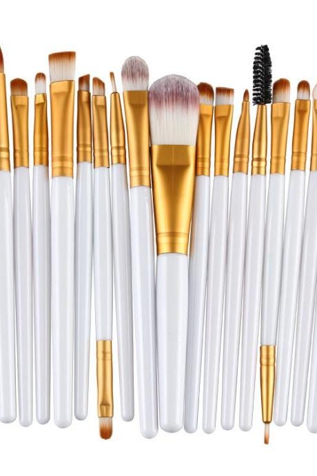 Free Shipping High Quality 20pcs/set Makeup Brush Set Tools Wool Brushes Kits - White&Gold