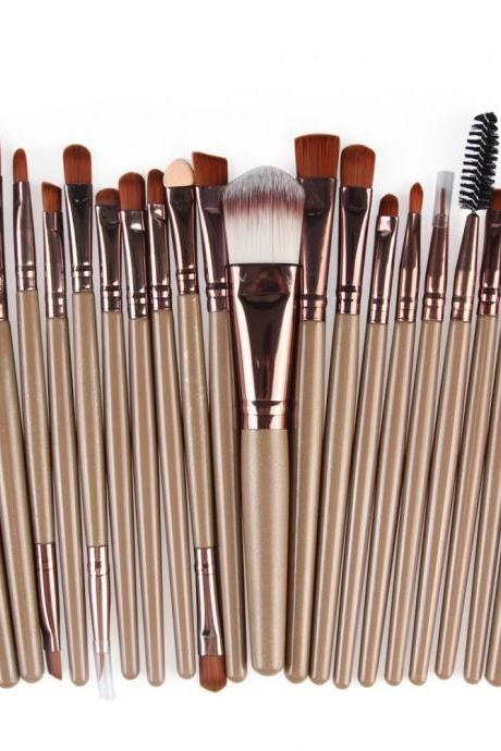 Free Shipping High Quality 20pcs/set Makeup Brush Set Tools Wool Brushes Kits - Brown