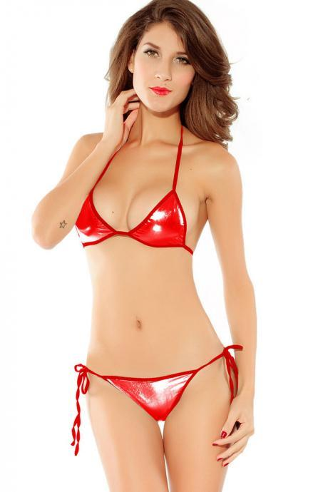 Free Shipping Fashion And Sexy Gilded Swimsuit Bikini Set - Red