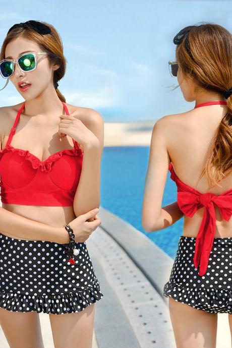 Cute Polka Dot Halter Swimwear Bkini Set - Black & Red