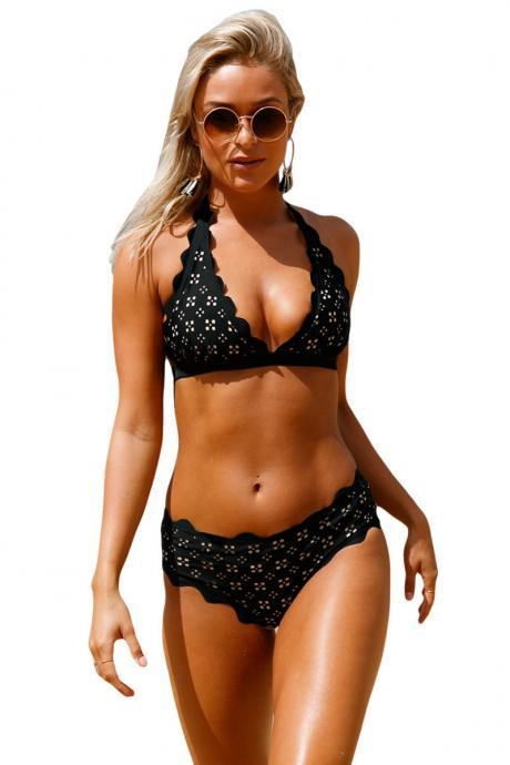 Sexy Black Scalloped Laser Hollow Out Halter Bikini Swimsuit
