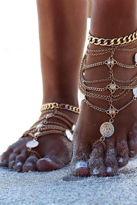 Free Shipping Fashion Coin Decorated Multilayered Metal Anklet - Gold
