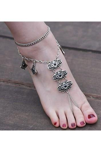 Free Shipping Vintage Silver Metal Anklet for Lady