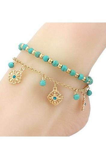 Free Shipping Layered Beads Embellished Gold Metal Pendant Anklet