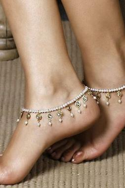 Free Shipping Fringe Decorated Faux Pearl Anklet
