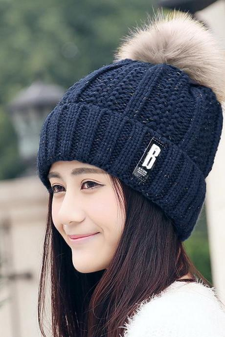 Free Shipping Fashion Winter Cute Hat Knitted Cap - Navy Blue