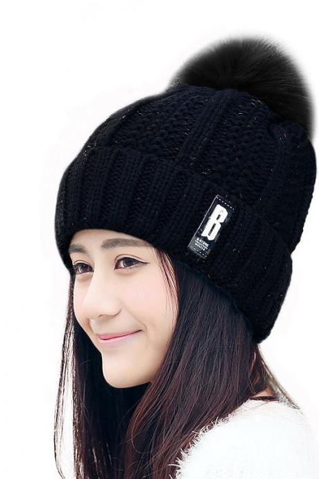 Free Shipping Fashion Winter Cute Hat Knitted Cap - Black