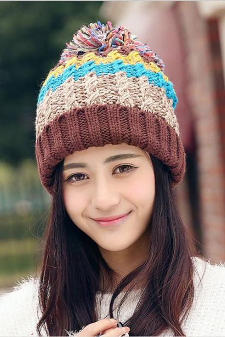 Free Shipping Women Color Block Cute Hat Knitted Cap With Elasticity - Coffee
