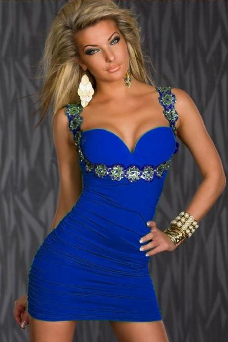 Sexy V Neck Sequins Style Sleeveless Club Dress - Blue