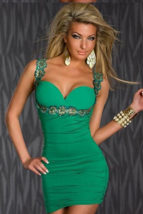 Sexy V Neck Sequins Style Sleeveless Club Dress - Green