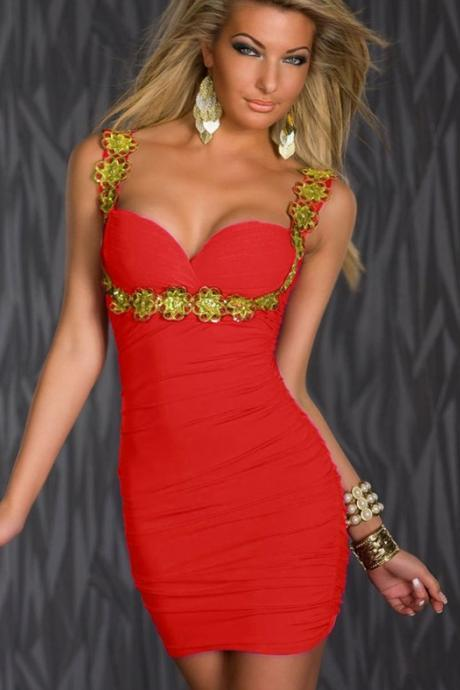 High Quality Sexy V Neck Sequins Style Sleeveless Club Dress - Red