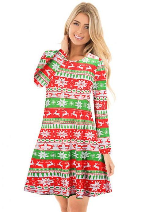 Free Shipping Floral Long Sleeve Christmas Skater Dress
