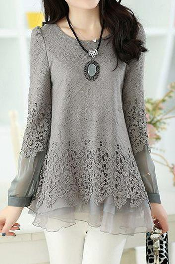 Fashion Long Sleeve Lace Panel Layered Grey Blouse