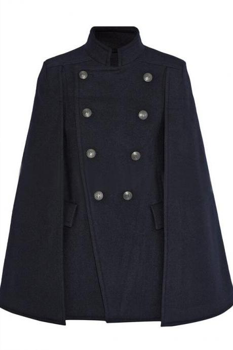 Women Designer Navy Blue Cloak Wool Winter Coat