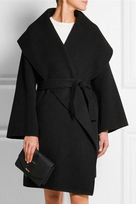 Cool Loose Turndown Collar Cashmere Winter Coat For Women - Black