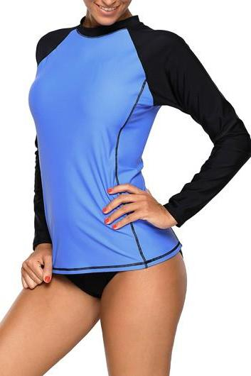 Blue Long Sleeve Patchwork Swimwear Top