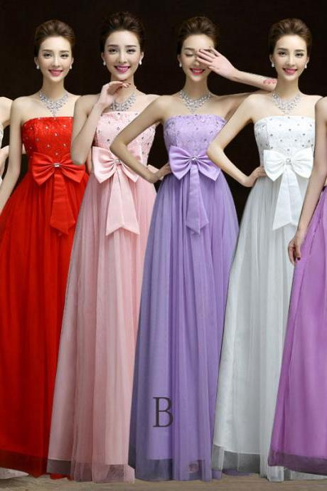 Charming Bow Long Prom Dress, Evening Dress , Bridesmaid Wedding Party Dresses
