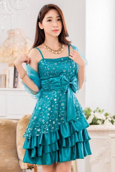 New Satin Women's Spaghetti Sequined Evening Formal Party Dress
