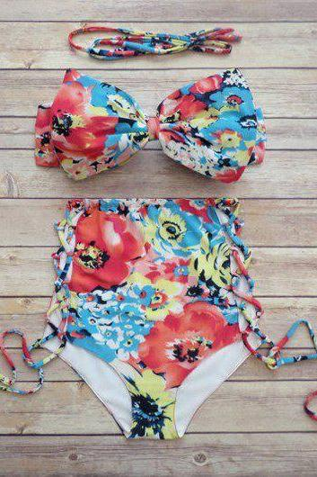 Cute Printed Bra and Lace Up Panty Swimwear