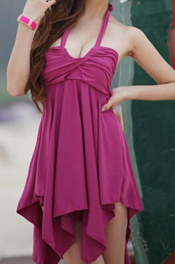 New Hot Halter Dress and Panty Swimwear - Purple