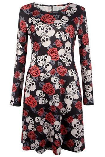 Skull and Roses Boat Neck Long Sleeve Dress