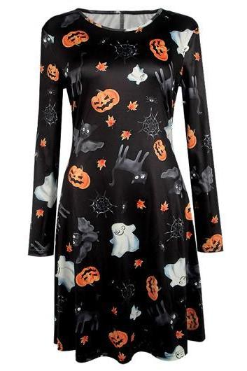 2016 Fashion Halloween Pumpkin and Ghost Print Dress