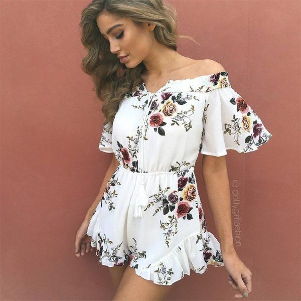 Hot Free shipping White Off Shoulder Floral Print Romper