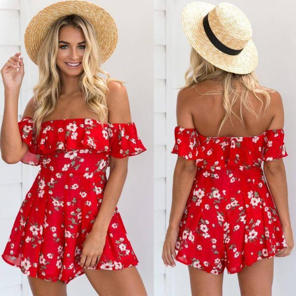Free shipping Red Off Shoulder Floral Print Romper