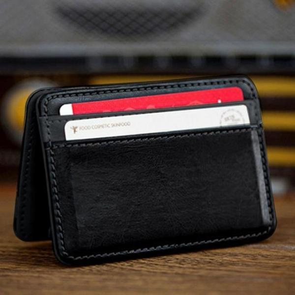 Cute Mini Neutral Magic Bifold Leather Wallet Card Holder Wallet Purse Money Clip Super Present