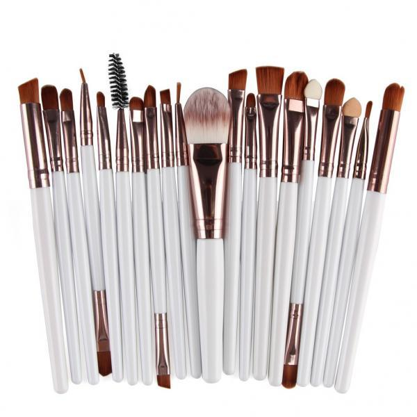 Free Shipping High Quality 20pcs/set Makeup Brush Set Tools Wool Brushes Kits - White&Coffee