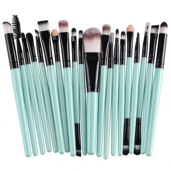 Free Shipping High Quality 20pcs/set Makeup Brush Set Tools Wool Brushes Kits - Green&Black