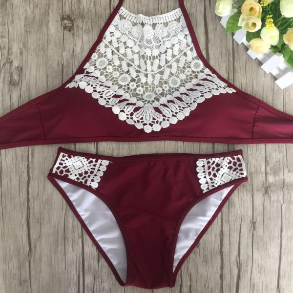 Free Shipping Fashion And Sexy Lace Swimsuit Bikini Set - Wine Red