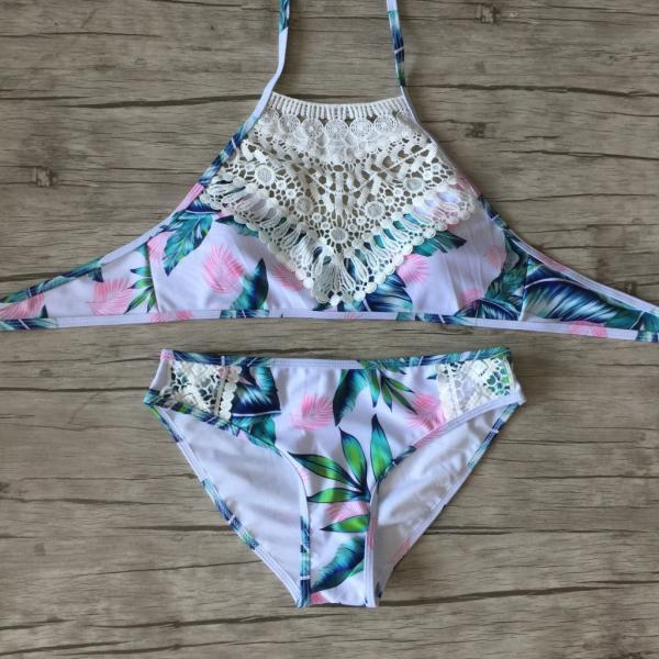 Free Shipping New Floral Lace Swimsuit Bikini Set