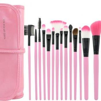 Hot Selling!!High Quality 15 PCS Professioal Makeup Brush Set With Leather Case
