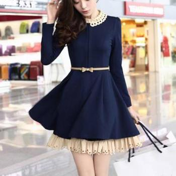 Nice Women's Long sleeve Dress With Belt - Navy Blue