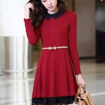 Nice Women's Long sleeve Dress With Belt- Wine Red