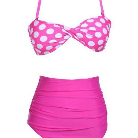 Cute Polka Dot Tops with Thong Suit Swimwear